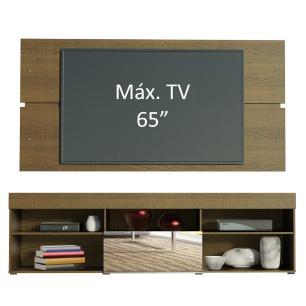 Rack com Painel para TV até 65 Polegadas Madesa London 1 Porta com Espelho