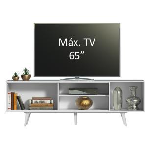 Rack Madesa Dubai para TV até 65 Polegadas com Pés - Branco/Rustic/Branco