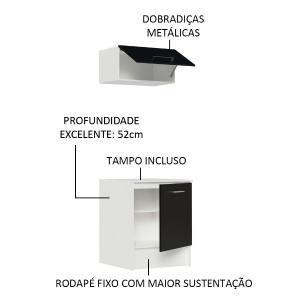 Kit Madesa Onix 60 cm 2 Portas com Armário Aéreo e Balcão - Branco/Preto