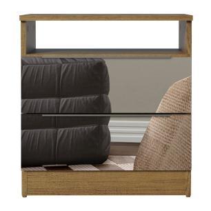 Mesa de Cabeceira Madesa 3227 2 Gavetas com Espelho - Rustic