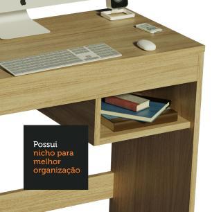 Escrivaninha Madesa Rubi com Tampo de Madeira e 1 Nicho - Carvalho