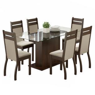 Conjunto Sala de Jantar Laís Madesa Mesa Tampo de Vidro com 6 Cadeiras