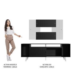 Rack Madesa Cancun e Painel para TV até 58 Polegadas com Pés - Preto/Branco 8NC7