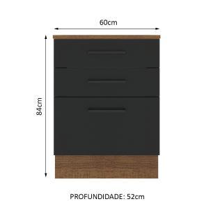 Balcão Madesa Agata 60 cm 3 Gavetas - Rustic/Preto