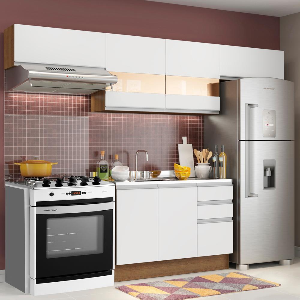 Cozinha Compacta Madesa Marina Com Armário e Balcão (Sem Tampo e Pia)