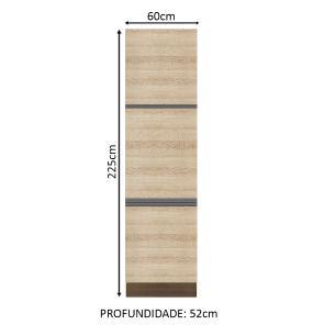 Paneleiro Madesa Glamy 60 cm 3 Portas - Rustic/Saara