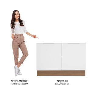 Balcão de Pia Madesa Stella 2 Portas - Rustic/Branco