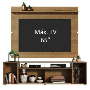 Rack Madesa Cancun e Painel para TV até 65 Polegadas - Rustic/Rustic/Branco