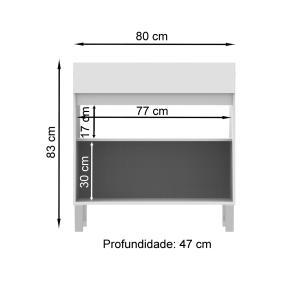 Balcão Madesa 80 cm para Área de Serviço