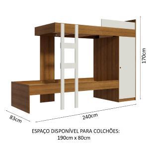 Kit Madesa Guarda-Roupa Infantil Denver com 2 Portas de Correr com Pés + Beliche Larissa