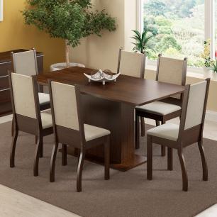 Conjunto Sala de Jantar Madesa Caroline Mesa Tampo de Madeira com 6 Cadeiras