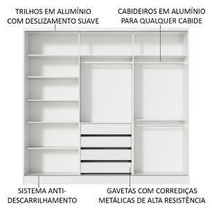 Guarda Roupa Casal 100% MDF Madesa Eros 3 Portas de Correr com Espelho - Branco/Rustic/Branco