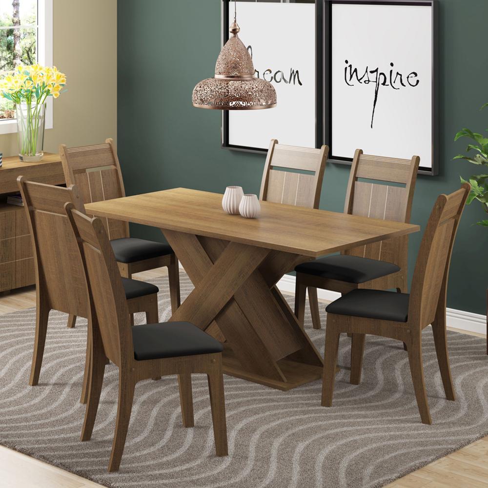 Conjunto Sala de Jantar Madesa Jéssica Mesa Tampo de Madeira com 6 Cadeiras