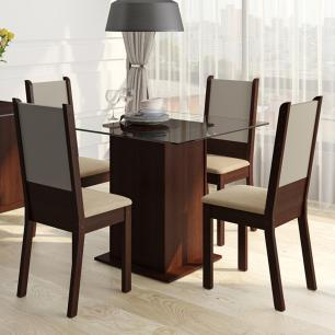 Conjunto Sala de Jantar Isis Madesa Mesa Tampo de Vidro com 4 Cadeiras