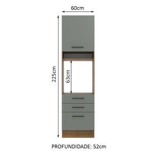 Torre Quente Madesa Agata 60 cm 1 Porta 3 Gavetas - Rustic/Cinza