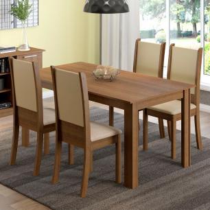 Conjunto Sala de Jantar Madesa Melissa Mesa Tampo de Madeira com 4 Cadeiras