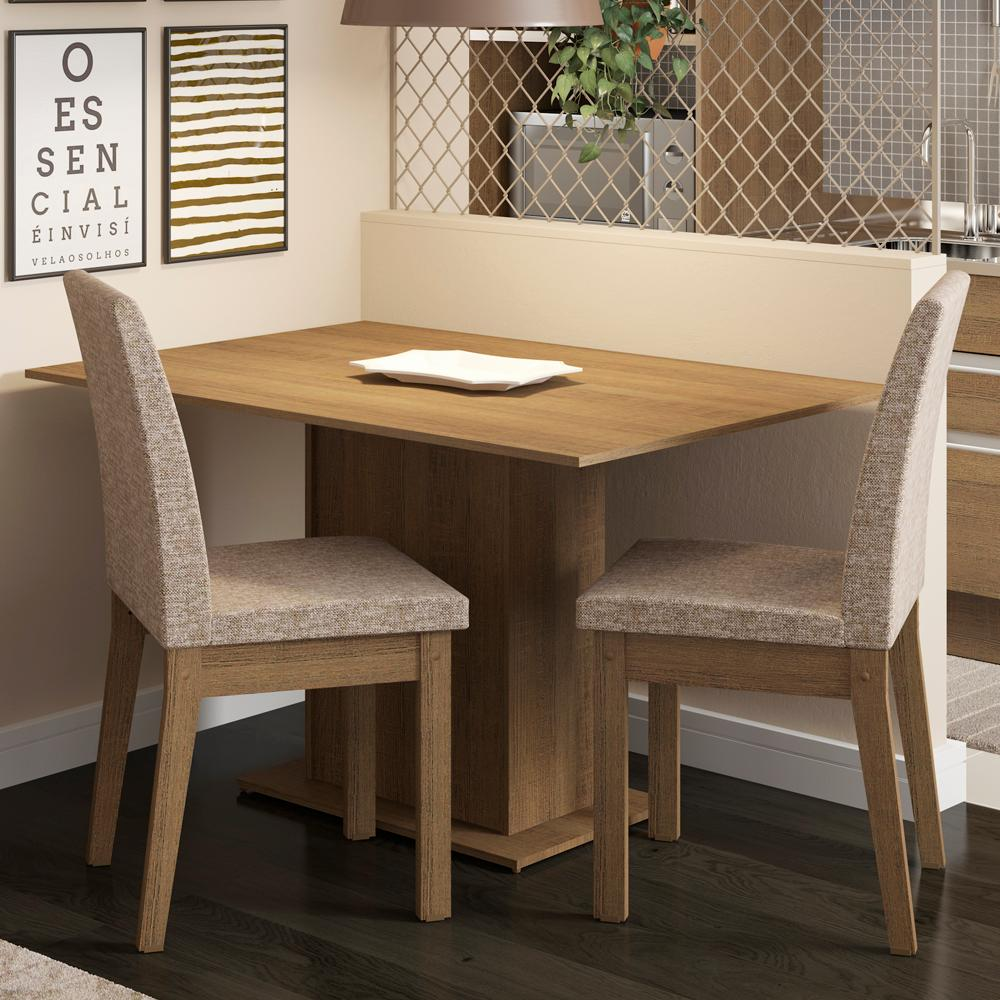 Conjunto Sala de Jantar Madesa Beca Mesa Tampo de Madeira com 2 Cadeiras