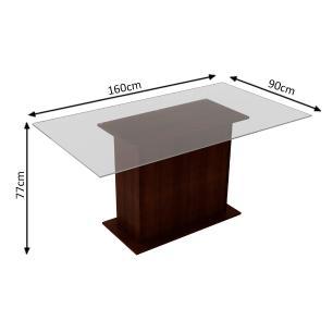 Conjunto Sala de Jantar Madesa Betina Mesa Tampo de Vidro com 6 Cadeiras