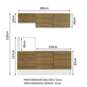 Cozinha Compacta Madesa Onix 180001 com Armário e Balcão - Branco/Rustic