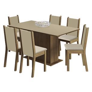 Conjunto Sala de Jantar Madesa Ohana Mesa Tampo de Madeira com 6 Cadeiras