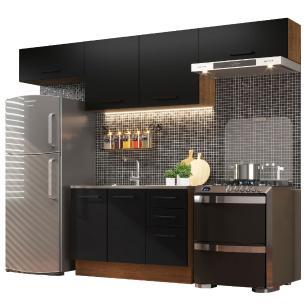 Cozinha Compacta Madesa Agata 280002 com Armário e Balcão - Rustic/Preto