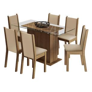 Conjunto Sala de Janta Madesa Aline Mesa Tampo de Vidro com 6 Cadeiras - Rustic/Crema/Pérola