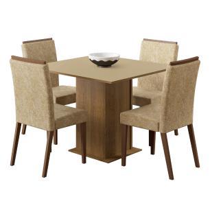 Conjunto Sala de Jantar Melani Madesa Mesa Tampo de Madeira com 4 Cadeiras