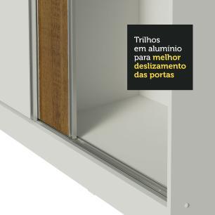 Guarda Roupa Casal 100% MDF Madesa Zurique 3 Portas de Correr com Pés - Branco/Rustic/Branco