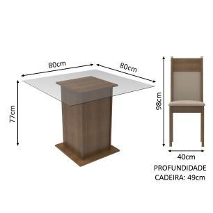 Conjunto Sala de Jantar Madesa Moni Mesa Tampo de Vidro com 2 Cadeiras