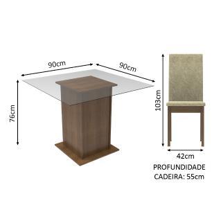 Conjunto Sala de Jantar Madesa Cau Mesa Tampo de Vidro com 2 Cadeiras
