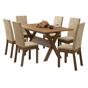 Conjunto Sala de Jantar Madesa Everest Mesa Tampo de Madeira com 6 Cadeiras