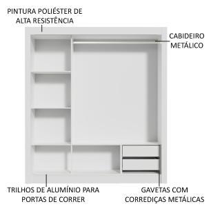 Guarda-Roupa Casal Madesa Lyon 3 Portas de Correr com Espelho 2 Gavetas - Branco/Carvalho