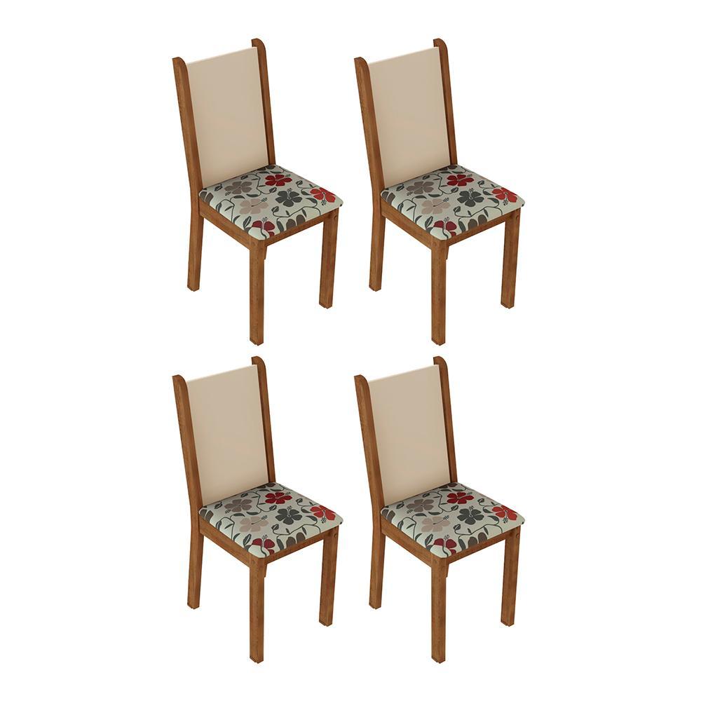 Kit 4 Cadeiras de Jantar 4291 Madesa Rustic/Crema/Hibiscos