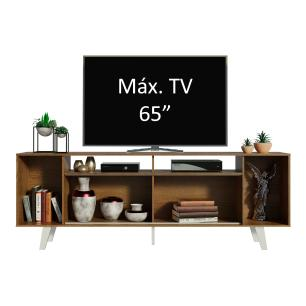 Rack para TV até 65 Polegadas Madesa Cancun com Pés - Rustic/Branco/Branco