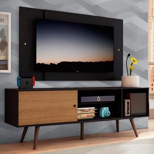Rack Madesa Cairo e Painel para TV até 58 Polegadas com Pés de Madeira - Preto/Rustic D8D8