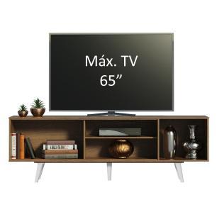 Rack Madesa Dubai para TV até 65 Polegadas com Pés - Rustic/Branco/Branco