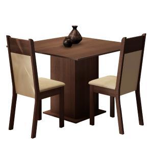 Conjunto Sala de Jantar Madesa Drica Mesa Tampo de Madeira com 2 Cadeiras