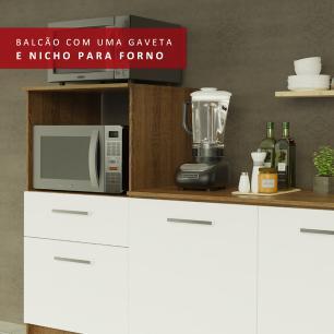 Balcão Madesa Onix 180 cm 3 Portas 1 Gaveta e Nicho para Forno - Rustic/Branco