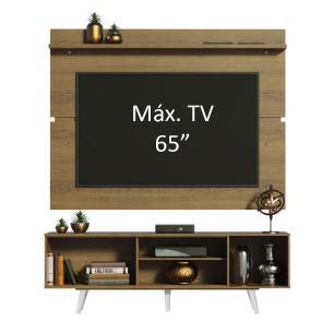 Rack Madesa Dubai e Painel para TV até 65 Polegadas com Pés - Rustic/Branco 6E6E