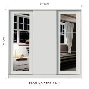 Guarda-Roupa Casal Madesa Eros 3 Portas de Correr com Espelhos - Branco
