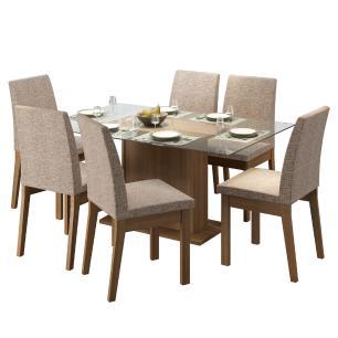 Conjunto Sala de Jantar Madesa Melissa Mesa Tampo de Vidro com 6 Cadeiras