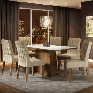 Conjunto Sala de Jantar Madesa Rafaela Mesa Tampo de Vidro com 6 Cadeiras