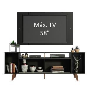 Rack Madesa Cancun e Painel para TV até 58 Polegadas com Pés - Preto 8ND8
