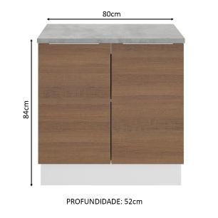 Balcão Madesa Stella 80 cm 2 Portas - Branco/Rustic