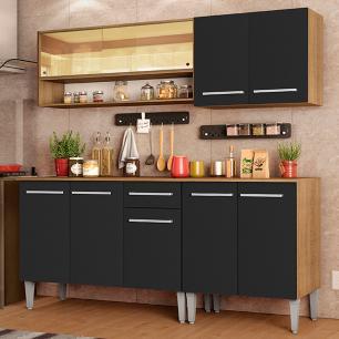 Armário de Cozinha Completa Madesa Emilly Dance com Balcão e Aéreo Vidro Reflex - Rustic/Preto