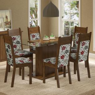 Conjunto Sala de Jantar Madesa Atlanta Mesa Tampo de Vidro com 6 Cadeiras