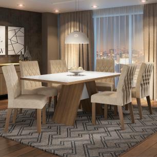 Conjunto Sala de Jantar Madesa Nicole Mesa Tampo de Vidro com 6 Cadeiras