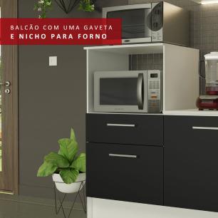 Cozinha Completa Madesa Onix 240002 com Armário e Balcão - Branco/Preto 0977