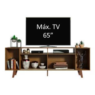 Rack para TV até 65 Polegadas Madesa Cancun com Pés - Rustic/Rustic/Branco