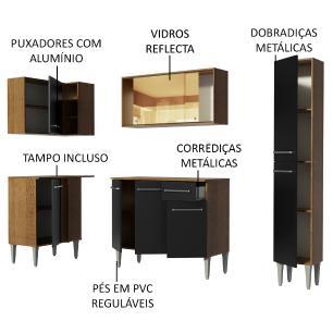 Cozinha Completa de Canto Madesa Emilly River com Balcão e Armário Vidro Reflex